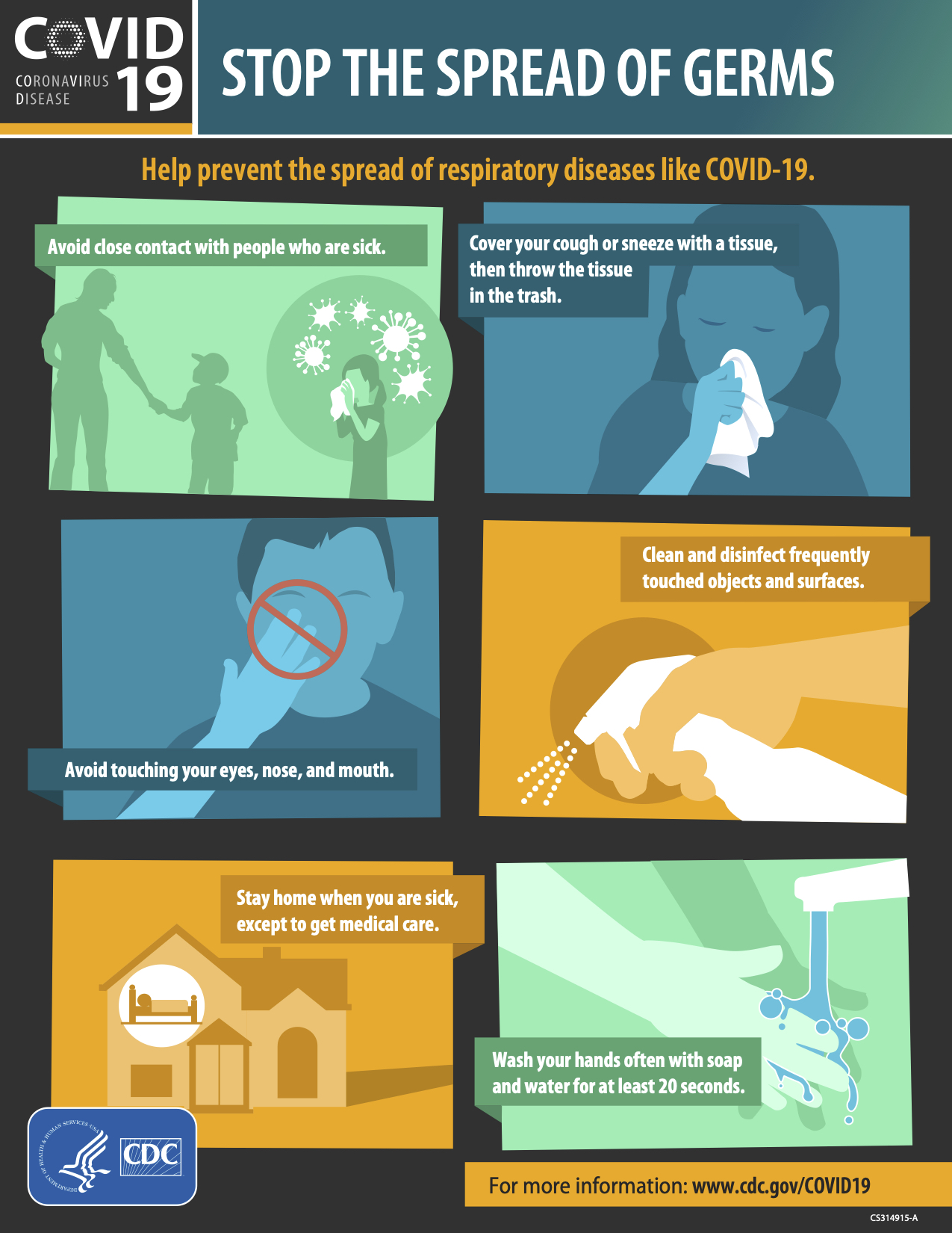 Handout from the CDC titled Stop the Spread of Germs